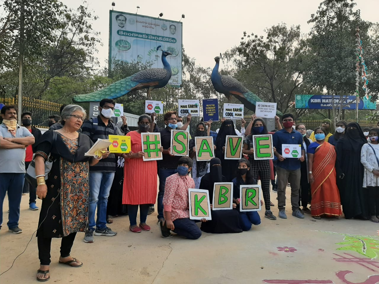 Save KBR activists stood outside the park with signs saying save KBR