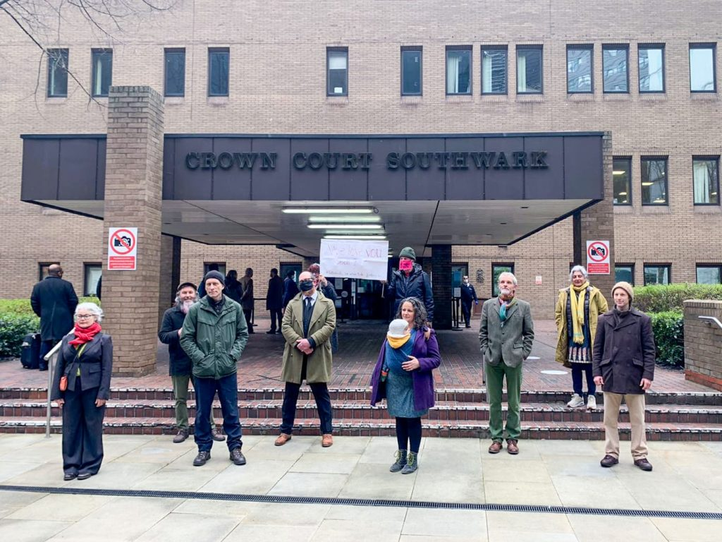 The Shell activists stand outside Southwark Crown Court.